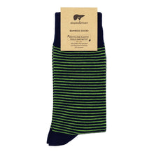 Load image into Gallery viewer, Slopes and Town Bamboo Socks - Blue with Green Stripes BambooBeautiful Ltd