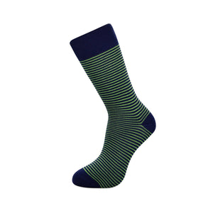 Slopes and Town Bamboo Socks - Blue with Green Stripes BambooBeautiful Ltd
