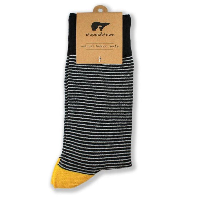 Slopes and Town Bamboo Socks -Stripy White and Black BambooBeautiful Ltd