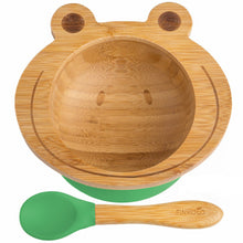 Load image into Gallery viewer, The Bambol - Kids Bamboo Suction Bowl and Spoon BambooBeautiful Ltd Frog