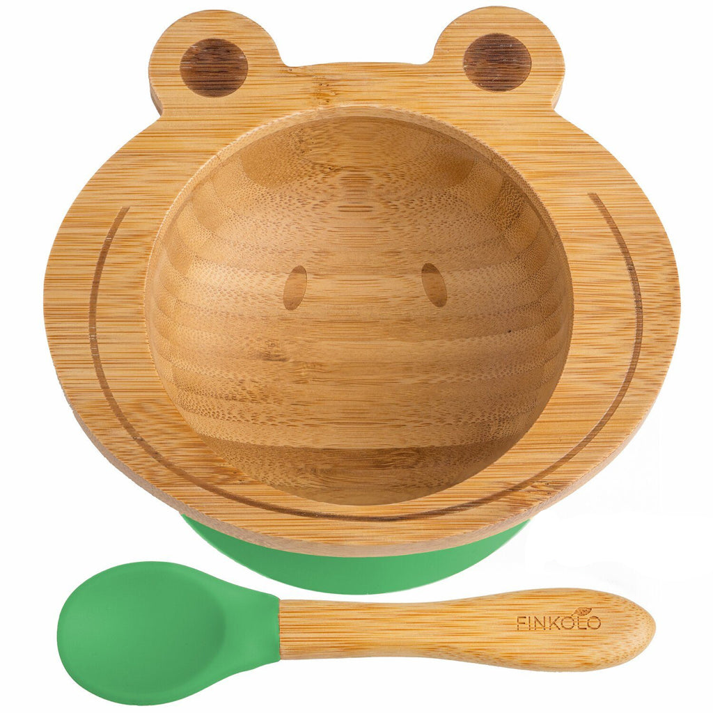 The Bambol - Kids Bamboo Suction Bowl and Spoon BambooBeautiful Ltd Frog