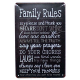 my-beer-life - Tin - Family Rules Tin Signs
