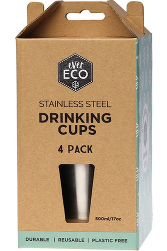 Ever Eco Stainless Steel Drinking Cups 500ml 4 pack