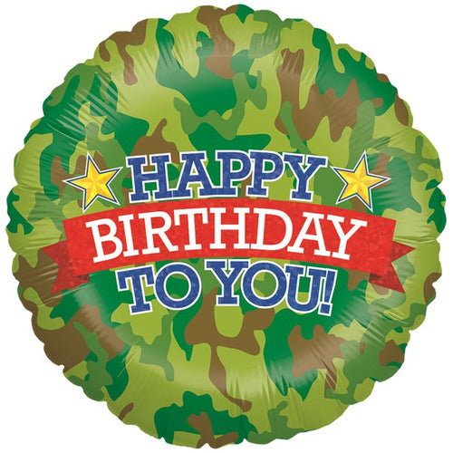 Holographic Camouflage Birthday Balloon - 18