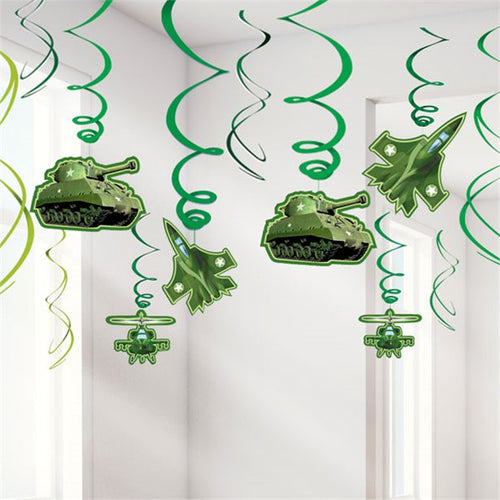 Camouflage Party Hanging Swirls Decoration - 61cm