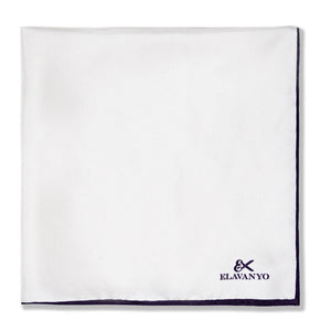 Classic White w/ purple shoestring Pocket Square