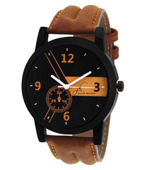 Sunday Sale Jack Klein Round Dail Brown pu Strap Quartz Watch For Men