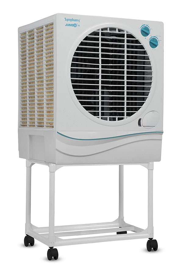 Symphony Jumbo 70 Ltrs Air Cooler (White) - with Trolley - industrypurchase.com