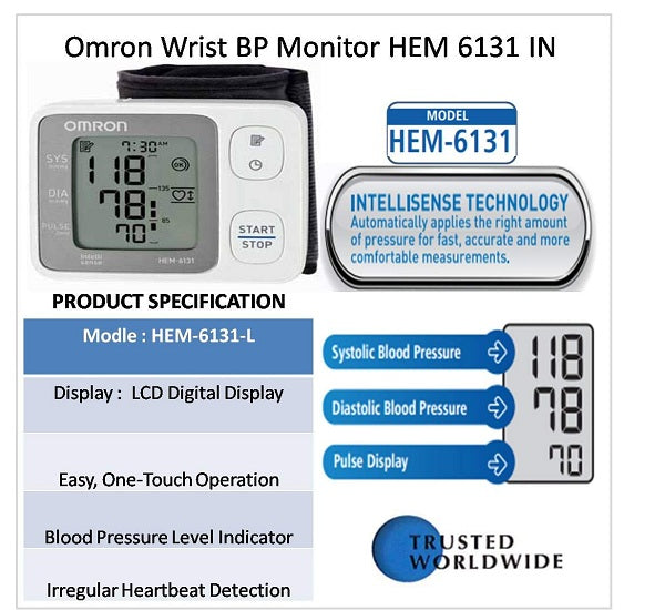 Omron HEM-6131 Blood Pressure Monitor (Wrist Type) - industrypurchase.com