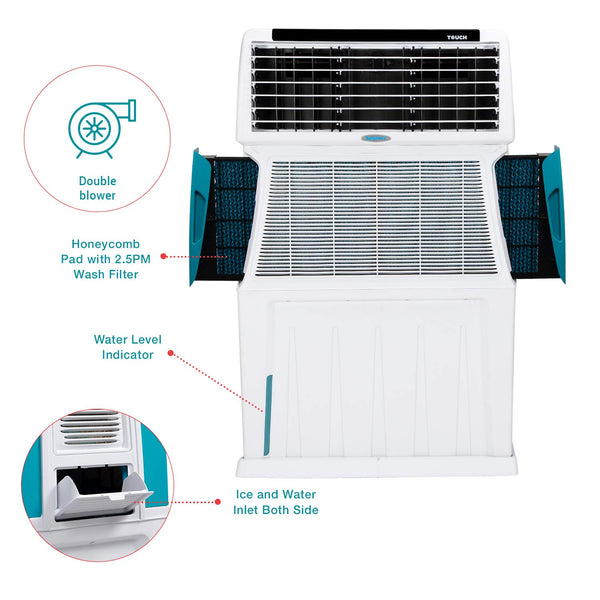 Symphony Touch 110 Litre Air Cooler (White) - with Remote Control and i-Pure Technology - industrypurchase.com