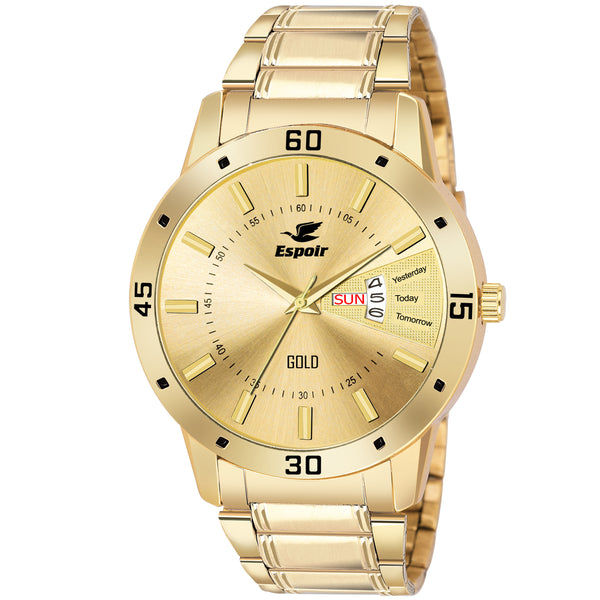 Sunday Sale Espoir Analogue Gold Plated 18K Day and Date Golden Dial Men's Watch- LatestGold0507