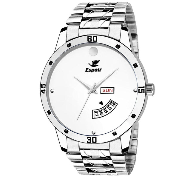Sunday Sale Espoir Analogue Silver Dial Day And Date Men's Watch - SamMovadoSilver0507