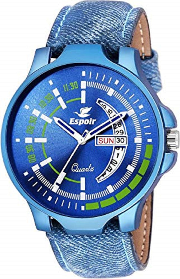 Sunday Sale Espoir Analogue Blue Dial Day and Date Men's Boy's Watch - BluishBeauty0507
