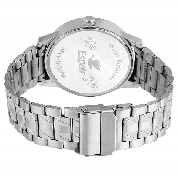 Sunday Sale Espoir Round Dial Silver Stainless Steel Strap Analog Watch For Men - Nail0507