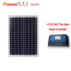 DOKIO Polycrystalline 20W Blue Solar Panels + 10A 12V/24V Controller With USB Interface Battery Travel Power Supply