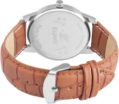 Sunday Sale Espoir Round Dial Brown Leather Strap Analog Watch For Men