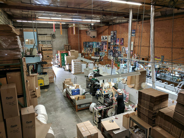 Jet City Label production floor in Seattle, Washington.