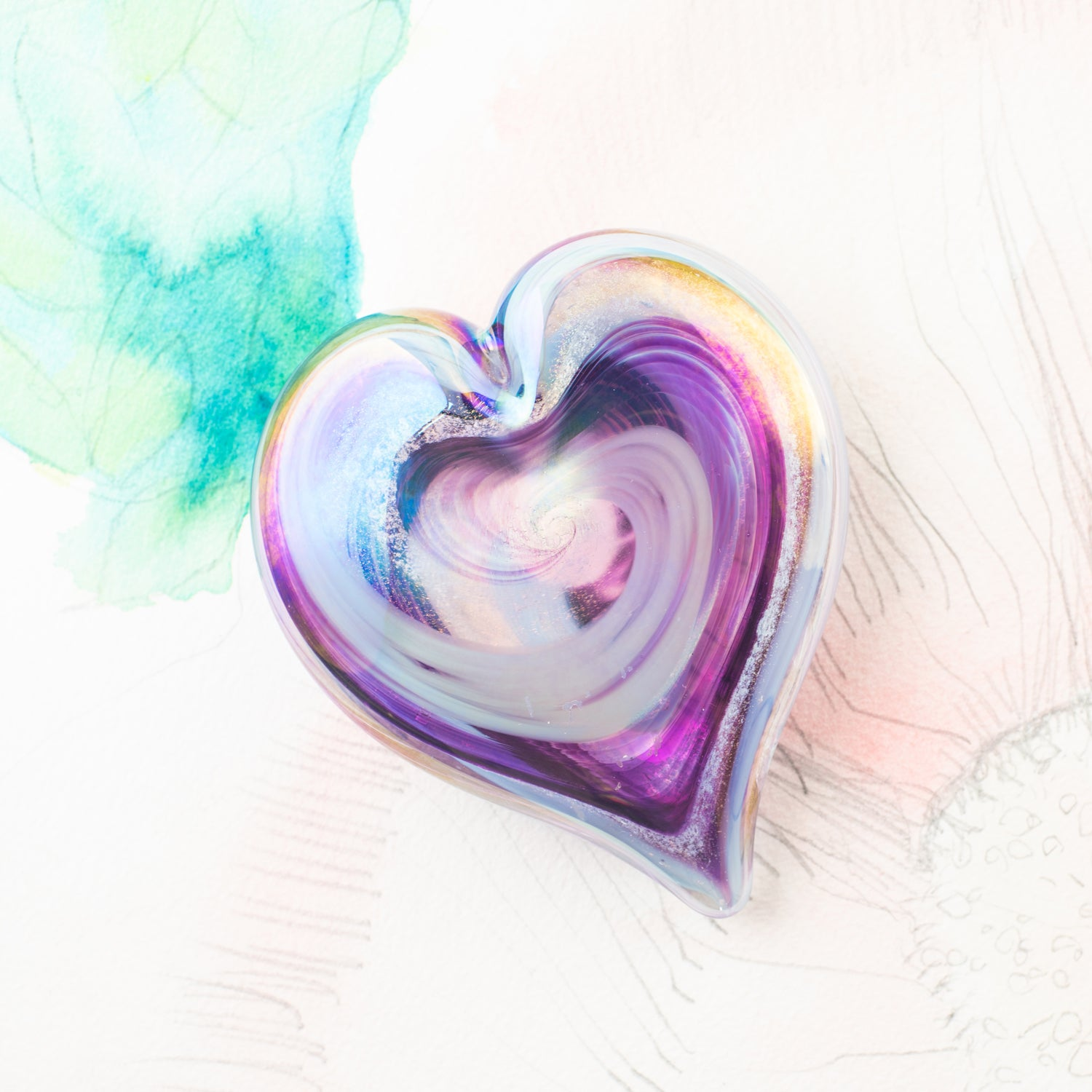 Glass Art Pet Memorials: ash infused heart