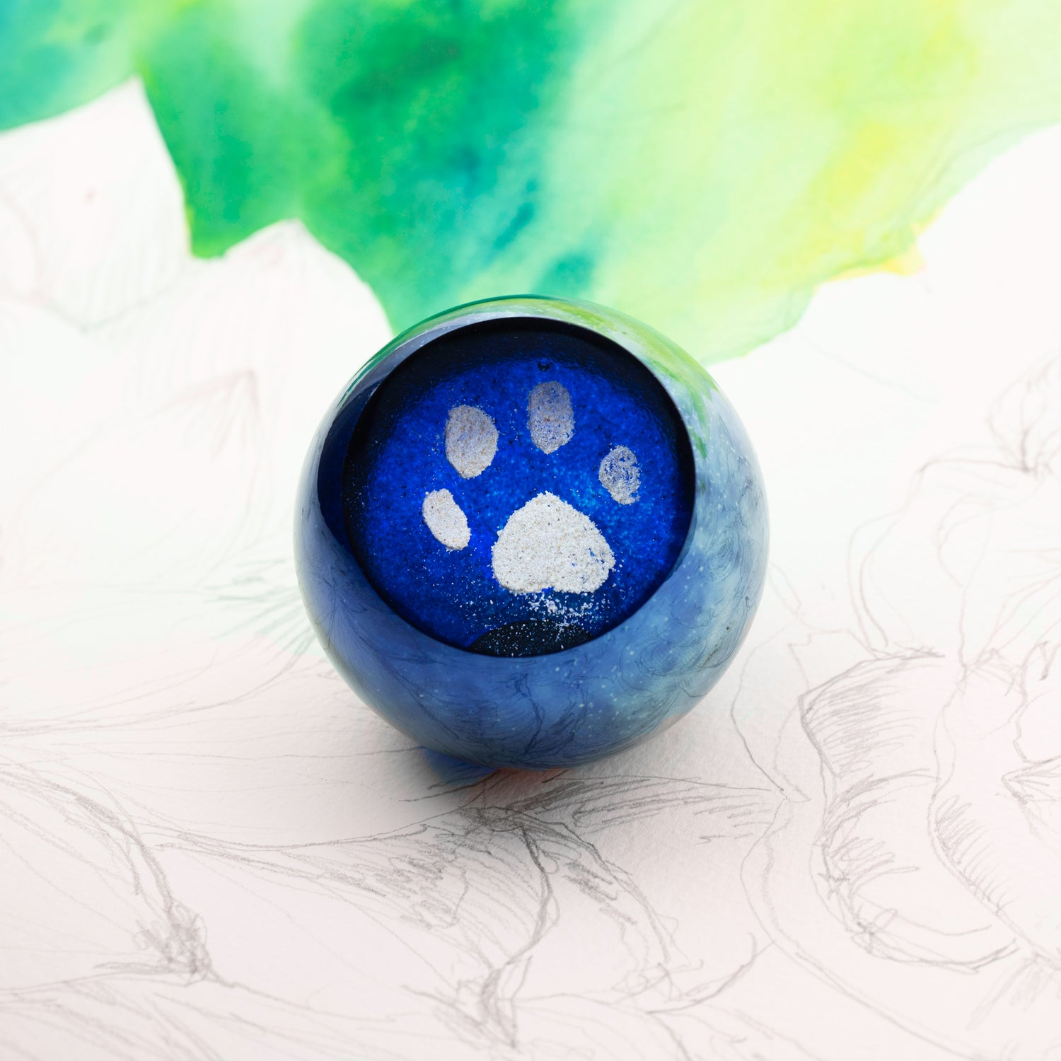 Glass Art Pet Memorials: ash infused paw print globe