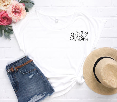 """Girl Mom"" Tee- Small Lettering - The Lulu Shop LLC"