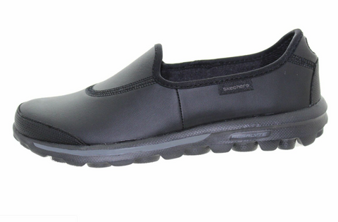 Skechers Womens GO WALK Black Leather - (13512/BBK) - LTH - R2L16
