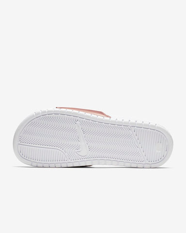 #Nike Benassi JDI Womens White/Rose Gold Scuffs (343881 108) - J3 - R2L15
