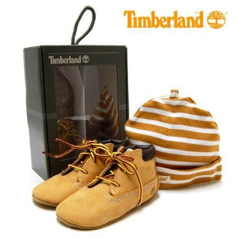 #Timberland Infant Crib Booties with Hat Set - (TB09589R) - Wheat - R1L9