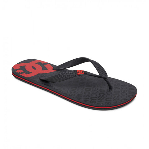 #DC Mens Spray Jandals Black/Red - (303272-XKSR) - DCS - F
