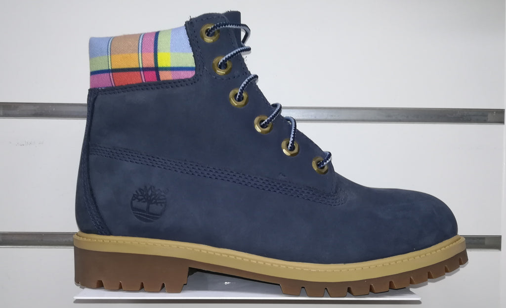 #Timberland Junior/Womens 6in Boot Navy/White Plaid- (TB01895A) - NT - R2L18