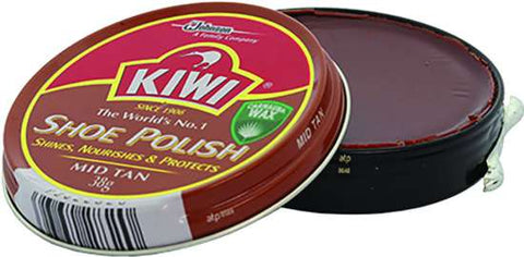 Kiwi Brand Wax Polish - Mid Tan - 38g