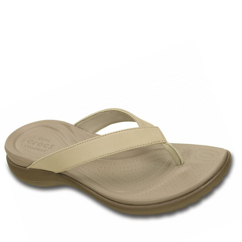 #Crocs Women's Capri V Flip Relaxed Fit  Chai/Walnut - (202502-27L) - F