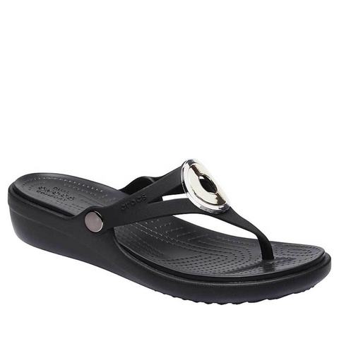 #Crocs Sanrah MetalBlock Wedge Flip Black - (205340-994) - F