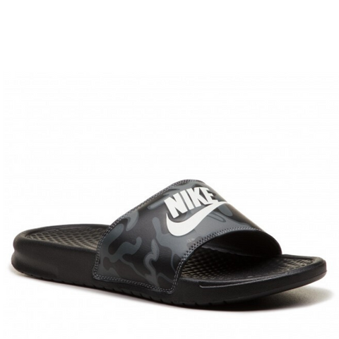 *Nike BENASSI JDI Black/Summit White Camo Scuffs / Slides (631261-013) - H2 - R2L15