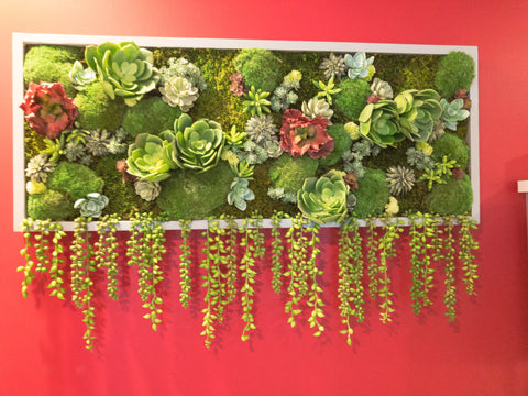 Custom preserved moss and faux succulent artwork designed for a local salon in Melbourne, Florida.