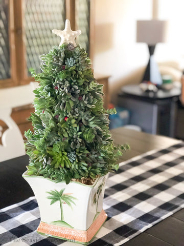 Succulent holiday tree made with over 60 plants