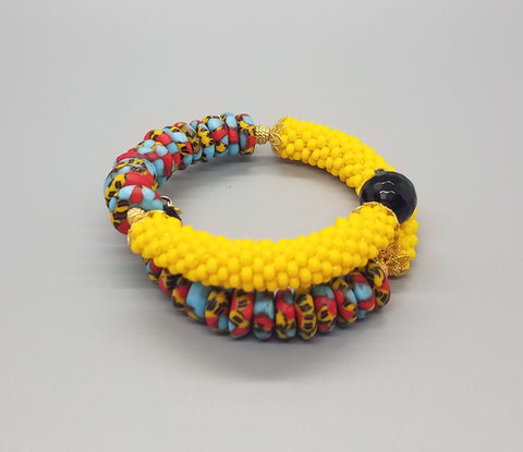 Yellow/Aqua Multi Krobo Beads, Yellow Czech Seed Beads, Black Onyx, Brass Beaded Crochet Bangle