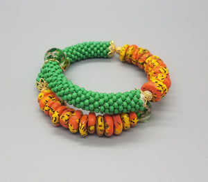 Orange Multi Krobo Beads, Green Czech Seed Beads, Green Lampwork, Brass Beaded Crochet Bangle