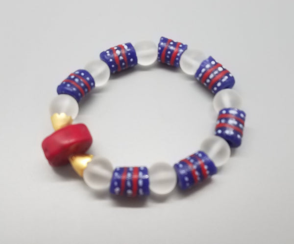 Red Coral, Blue Red Mullti Krobo Beads, Transulent White Krobo Beads and Brass Stretch Bracelet
