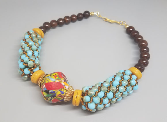 Lg Multi Krobo Bicone, Aqua Glass Luster, Brass, Topaz Czech Seed Beads, Brown Ceramic, Necklace