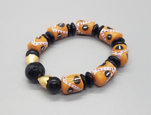 Salmon Tan, Black, White Multi Krobo Beads, Black Onyx, Jasper, Czech Glass, Brass Stretch Bracelet