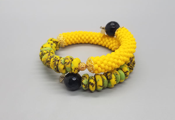 Yellow/Green Krobo Beads, Black Onyx Beads, Yellow Czech Seed Beads, Brass, Beaded Crochet Bangle