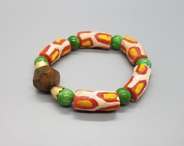 Orange/White Krobo Beads, Brownish Green Agate Stone, Green Quartzite Beads, Brass Stretch Bracelet
