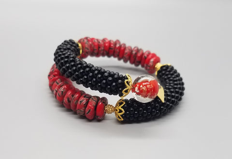 Red/Black Krobo Beads, Red Lampwork Glass, Black Czech Seed Beads, Brass Beaded Crochet Bangle