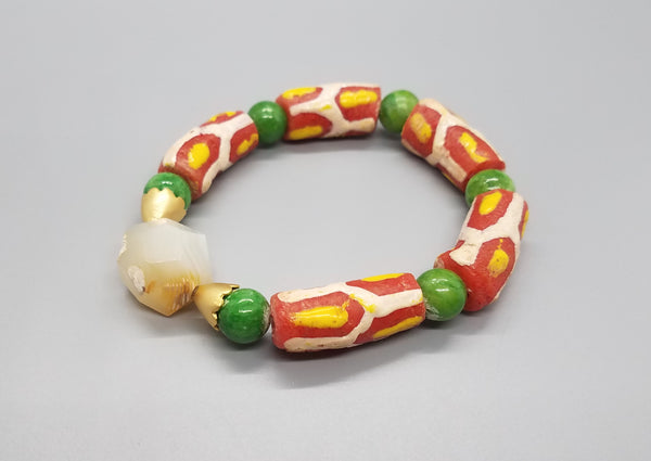 Orange/Yellow/Cream Multi Krobo Beads, Agate, Quartzite, Brass Stretch Bracelet