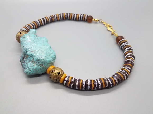 XL Turquoise Stone, Brown Mustard Multi Krobo, Ashanti Brass Beads, Krobo Beads Necklace