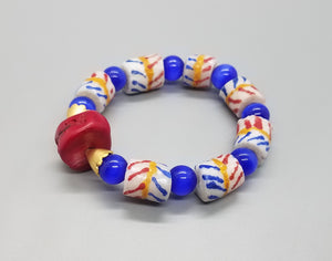 Red White Blue Yellow Muti Krobo Beads, Red Coral Bead, Blue Cat Eye, Brass Stretch Bracelet