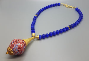 Red/Blue/White Mult Krobo Beads, Blue Cat Eye Beads, Brass, 22K Gold Plated Brass Necklace