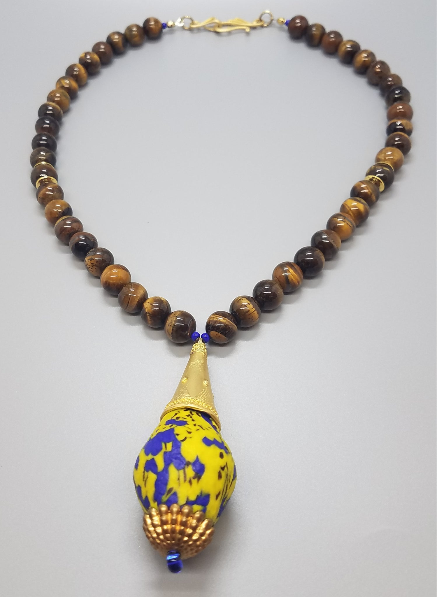 Blue Yellow Mult Krobo Beads, Tiger Eye Beads, Brass, Stamping and 22K Gold Plated Brass, Necklace