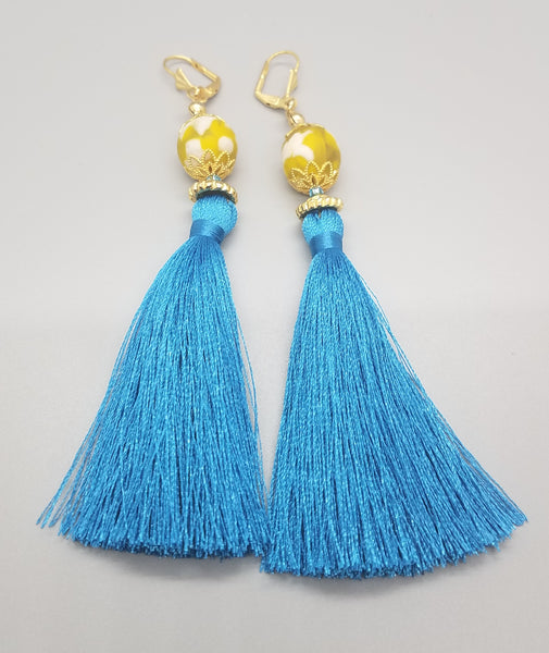 Yellow, White Krobo Beads, Aqua Thread Tassel, Brass Earrings