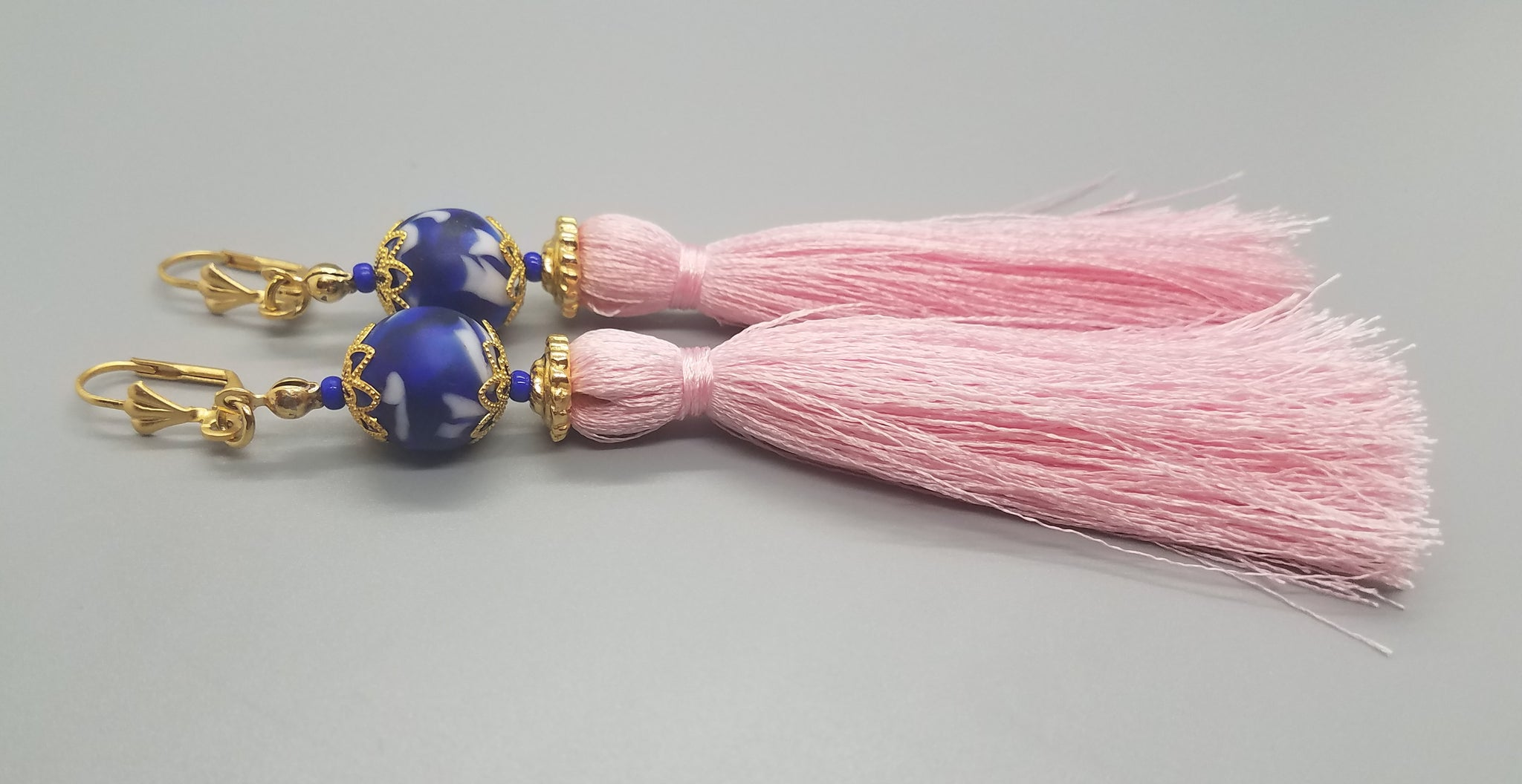 Blue, White Krobo Beads, Light Pink Thread Tassel, Brass Earrings